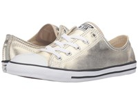 Converse Chuck Taylor All Star Metallic Leather Dainty Ox Light Gold Black White Women's Shoes