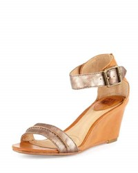 Coach Carol Leather Wedge Sandal Bronze