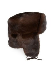 The Fur Salon Mink Trapper Hat Brown