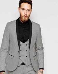 Noose And Monkey Mini Check Tuxedo Jacket With Stretch In Skinny Fit Black