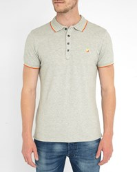 Diesel Grey T Skin Polo Shirt With Two Tone Red Yellow Collar Trim
