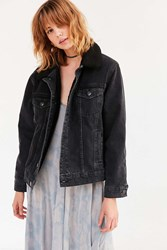 Bdg Borg Lined Western Denim Trucker Jacket Washed Black