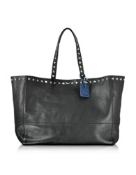 Zadig And Voltaire Genesis Outline Black Blue Leather Tote