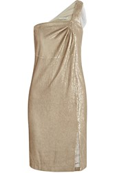Halston Tulle Trimmed Sequined Stretch Jersey Mini Dress Metallic