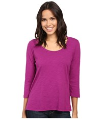 Mod O Doc Slub Jersey 3 4 Sleeve Scoopneck Tee Dark Fuschia Women's Long Sleeve Pullover Purple