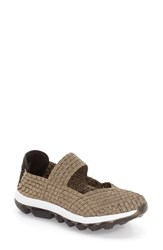 Women's Bernie Mev. 'Gummies Charm' Stretch Woven Slip On Sneaker Bronze Fabric