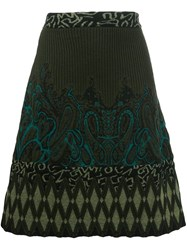 Etro Intarsia Knitted A Line Skirt Green