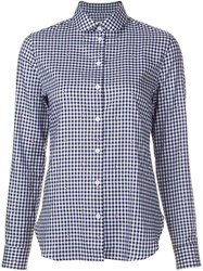 Maison Kitsune Checked Shirt Blue
