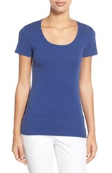 Women's Caslon Short Sleeve Scoop Neck Tee Blue Mazarine