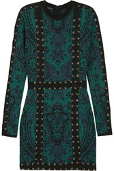 Balmain Lace Up Jacquard Knit Mini Dress Emerald