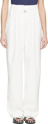 Kenzo White Cr Pe High Waisted Wide Leg Trousers