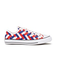 Converse Men's Chuck Taylor All Star Woven Canvas Ox Trainers White Clematis Blue Red