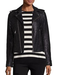 The Kooples Perfecto Waxed Lace Jacket Black