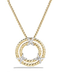 David Yurman X Circle Pendant Necklace With Diamonds In 18K Yellow Gold Gold White