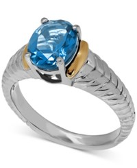 Macy's Blue Topaz 2 1 4 Ct. T.W. Oval Ring In 14K Gold And Sterling Silver