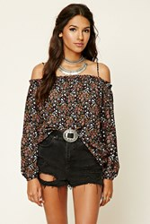 Forever 21 Contemporary Floral Open Shoulder Top Black Coral