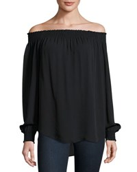 Kobi Halperin Leonie Long Sleeve Off The Shoulder Silk Blouse Black
