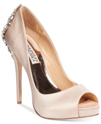 Badgley Mischka Kiara Platform Evening Pumps Women's Shoes Latte Satin