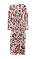 Msgm Long Sleeve Floral Maxi Dress
