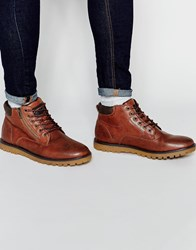 Pull And Bear Pullandbear Faux Leather Boots With Zip Detail Brown