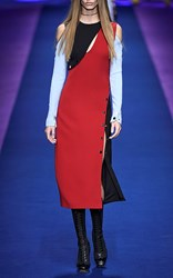 Versace Color Block Long Sleeve Dress Red Blue