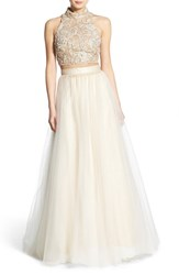 Women's Terani Couture Embellished Top And Tulle Skirt Two Piece Ballgown