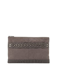 Neiman Marcus Crocodile Embossed Large Evening Clutch Bag Charcoal Grey