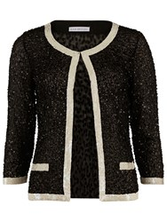 Gina Bacconi Sequin Jacket With Contrast Bands Black Cream