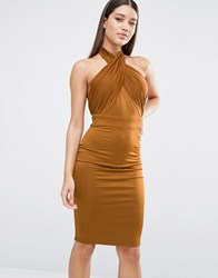 Naanaa Halterneck Ruched Pencil Dress Brown