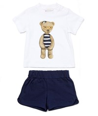 Gucci Teddy Bear Tee W Shorts White Blue Size 12 36 Months Size 36 Months