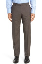 Boss Men's 'Leenon' Flat Front Check Stretch Wool Trousers Medium Grey