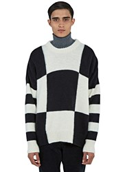 Ami Alexandre Mattiussi Oversized Checked Crew Neck Sweater Black