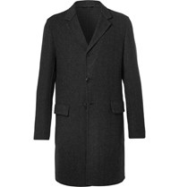 Prada Slim Fit Double Faced Wool Silk And Cashmere Blend Overcoat Gray