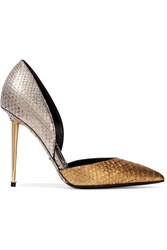 D'orsay Two Tone Metallic Python Pumps Gold Silver