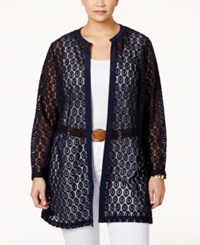 Alfani Plus Size Crocheted Long Cardigan Only At Macy's Modern Navy