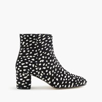 J.Crew Side Zip Ankle Boots In Leopard Calf Hair Black White Spots