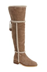 Frye Women's 'Tamara' Genuine Shearling Over The Knee Boot Taupe Suede