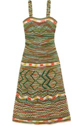 M Missoni Crochet Knit Cotton Dress Jade