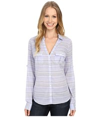 Columbia Sun Drifter L S Shirt Pale Purple Stripe Women's Long Sleeve Button Up Blue