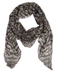 The Kooples Tiger Printed Modal And Silk Scarf Grey