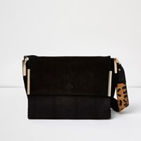 River Island Womens Black Suede Leopard Print Strap Foldover Bag