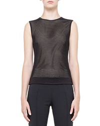 Akris Punto Jersey Mesh Back Zip Tank Top Noir