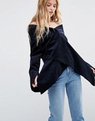 Weekday Press Pack Off The Shoulder Top Dark Blue