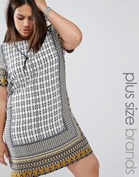 Alice And You Mosaic Print Cap Sleeve Shift Dress Multi