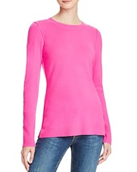 Aqua Cashmere Fitted Crewneck Cashmere Sweater Neon Pink