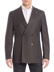 Eidos Double Breasted Wool Check Blazer