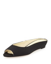Bettye Muller Tangier Peep Toe Demi Wedge Slide Black