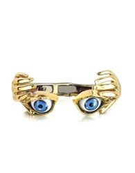Bernard Delettrez Bronze Hand Stiff Bracelet With Eye Gold
