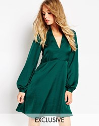 Needle And Thread Satin Skater Dress With Bell Sleeve Green