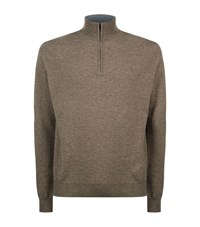 Corneliani Zip Knit Sweater Male Camel